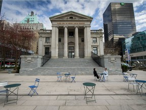 The south plaza of the Vancouver Art Gallery is one of the sites where alcohol consumption will be legally permitted this summer.
