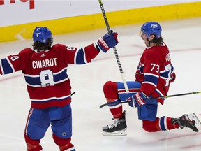 Montreal Canadiens Tyler Toffoli celebrates his game and series winning goal with teammate Ben Chiarot over the Winnipeg Jets druring overtime of National Hockey League playoff game in Montreal Monday June 7, 2021.