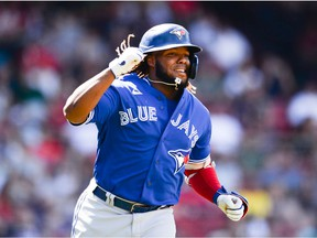 Vladimir Guerrero Jr. of the Toronto Blue Jays celebrates after hitting a two-run home run in the seventh inning against the Boston Red Sox at Fenway Park on June 13, 2021 in Boston, Massachusetts.