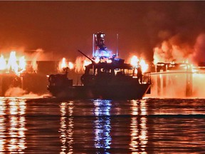 Vancouver Fire Rescue was called for support with a fire boat to help extinguish a fire on a pier in an abandoned property at 12500 Block of Industrial Road in Surrey.
