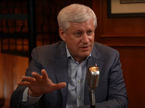 Former Prime Minister Stephen Harper being interviewed on the podcast American Optimist hosted by Joe Lonsdale.