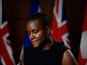 Annamie Paul, leader of the Green Party of Canada, speaks at a news conference on the news that New Brunswick MP Jenica Atwin had left the Green Party to join the Liberal Party, on Parliament Hill in Ottawa, on Thursday, June 10, 2021.