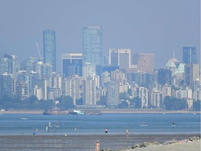 The city of Vancouver, British Columbia, is seen through a haze on a scorching hot day, June 29, 2021.