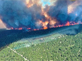 The Sparks Lake fire, in the Kamloops fire centre, is the largest in the province at 402 square kilometres, but people are not at risk in the rural area.