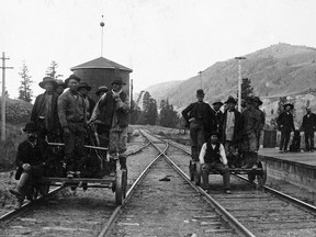 Chinese rail workers on handcars, Canadian Pacific Railway, circa 1886