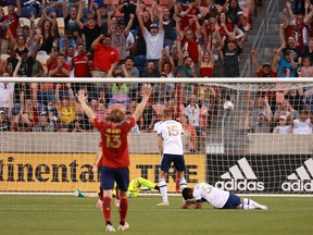 Real Salt Lake celebrates scoring against the Vancouver Whitecaps during their last meeting at Rio Tinto Stadium in Sandy, Utah, a 3-1 RSL victory.