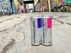 """Psychedelic Water says its namesake beverage is """"the world's first legal psychedelic blend of kava root, damiana leaf and green tea leaf extract for a mild mood-boosting experience."""""""