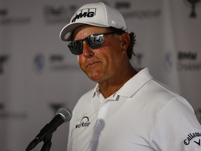 Phil Mickelson speaks to the media finishing play in the first round of the BMW Championship golf tournament in Owings Mills, Md., Aug. 26, 2021.
