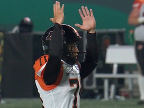 Takeru Yamasaki celebrates his field goal against the Saskatchewan Roughriders, the first CFL points ever scored by a Japanese-born player.