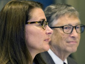 """American business magnate Bill Gates and wife Melinda Gates attend a news conference by United Nations's movement """"Every Woman, Every Child"""" in Manhattan, New York September 24, 2015."""