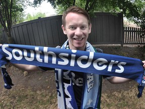 Whitecaps fan Andrew Delbaere at his home in Surrey on Aug. 19.