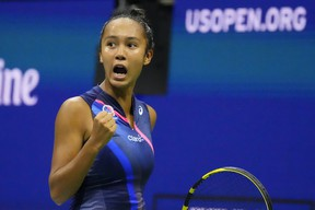 Canadian Leylah Fernandez reacts after winning a point against Aryna Sabalenka during their U.S. Open semifinal.