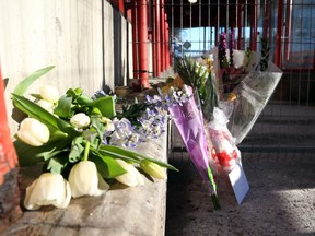Flowers and notes were left at the Westboro station in memory of the bus crash victims, January 14, 2019.