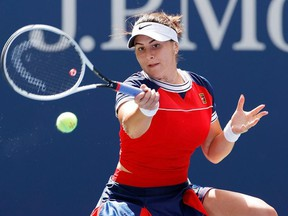 Bianca Andreescu of Canada returns against Greet Minnen of Germany during her Women's Singles third round match on Day Six of the 2021 US Open at the USTA Billie Jean King National Tennis Center on September 04, 2021 in the Flushing neighborhood of the Queens borough of New York City.