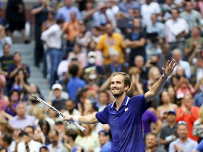 Daniil Medvedev of Russia celebrates defeating Novak Djokovic of Serbia to win their Men's Singles final match on Day Fourteen of the 2021 US Open at the USTA Billie Jean King National Tennis Center on September 12, 2021 in the Flushing neighborhood of the Queens borough of New York City.