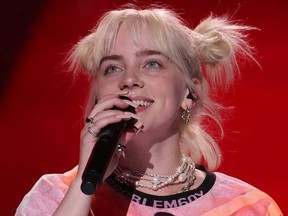 Billie Eilish performs onstage during the 2021 iHeartRadio Music Festival on September 18, 2021 at T-Mobile Arena in Las Vegas, Nevada.