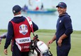 Brooks Koepka of team United States reacts during Saturday afternoon Fourball Matches of the 43rd Ryder Cup at Whistling Straits in Kohler, Wisc.
