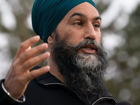 NDP leader Jagmeet Singh delivers his morning announcement in Saskatoon, Sask., on Friday.
