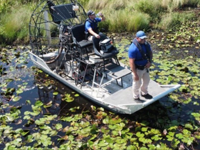 An image from St. Tammany Parish Sheriff's Office during their search for an alligator that attacked a man in the wake of Hurricane Ida.