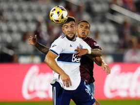 Lucas Cavallini (left) got 30 minutes of game time in against Lucas Esteves (right) and his Colorado Rapids last Sunday, and came close to scoring twice.