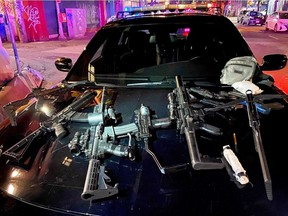 A homeless man was shot with an arrow in the Downtown Eastside on Thursday night. The shot was likely fired from the fire escape of an East Hastings St. building. Officers recovered a cache of real and imitation weapons from the building, including crossbows, replica assault rifles, scopes, lights, and lasers.