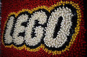 A Lego pieces is pictured during the annual New York Toy Fair, at the Jacob K. Javits Convention Center in New York City.