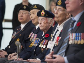 Current and former members of the Canadian military attend a dedication ceremony at Via Rail's Pacific Central Station in Vancouver on March 29, 2019.