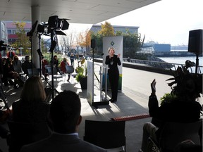 Mary-Ann Booth, the mayor of West Vancouver, unveils the North Shore's transportation wish list on Tuesday at North Vancouver's Shipyyards District.