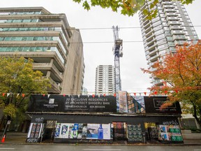 Terrace House development site at 1250 West Hastings as seen from Pender Street.