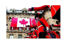 The Ceremonial Guard leaves Parliament Hill Monday after the first Changing of the Guard ceremony for the 2015 season.