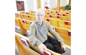 Former KGB agent Mikhail Lennikov in his place of sanctuary in 2009, the First Lutheran Church in Vancouver.