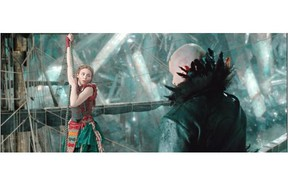 Rooney Mara stars with Hugh Jackman, who appears to be channelling Johnnie Depp, in Pan. Warner Bros. Pictures release.