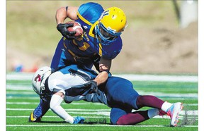 Saskatoon Hilltops running back Logan Fischer, top, has gained a reputation on the football field as a tough player who will run over or through defenders as much as he skirts, slashes and dances around them.