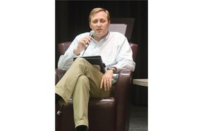 Conservative candidate Brad Trost speaks at a debate at St. Thomas More College among the Saskatoon-University riding candidates,  Friday, September 18, 2015.