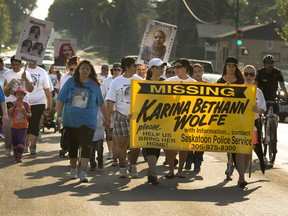 A vigil walk for Karina Bethann Wolfe followed her last known steps - from the 800 block of Appleby Drive to the White Buffalo Youth Lodge - on July 2, 2014, the anniversary of her disappearance four years earlier.