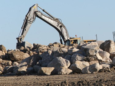 Construction is ongoing in the new Aspen Ridge subdivision on November 17, 2015 in Saskatoon. A number of rocks needed to be cleared to make way for the undertaking.