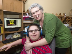 Vera Olenick, and son Daniel, who has Down Syndrome, at home.