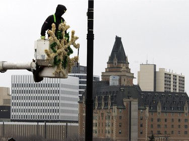 City employees hang Christmas decorations on Broadway Bridge in Saskatoon, November 16, 2015.