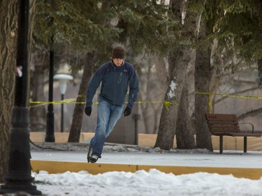 Will Gardner may very well be the first skater to scratch the icy surface of Meewasin Rink which is officially open, December 17, 2015. There is one small area on the rink fenced off that needs a bit more water.