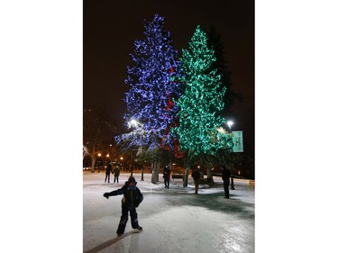 Skaters enjoy the Cameco Meewasin Valley Authority Rink and twinkle lights in the trees which were turned on for the official opening, December 17, 2015.