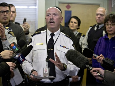 RCMP superintendent Grant St. Germaine speaks with media in La Loche on January 23, 2016 about the ongoing investigation of a Friday shooting at a school in La Loche. The shooting left four people dead.