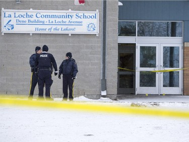 RCMP were on the scene after the shooting at La Loche Community School on January 23, 2016.