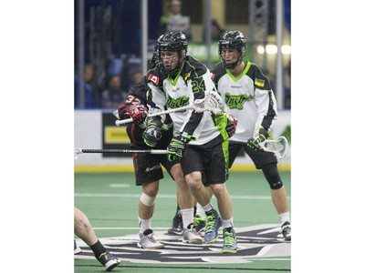 The crowd at SaskTel Centre was into the Saskatchewan Rush Lacrosse team's first home game seeing action, fights, big hits and goals, January 15, 2016.