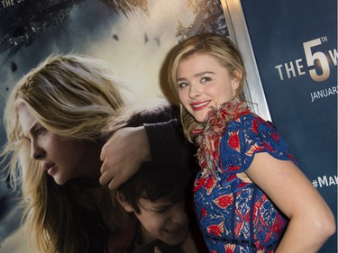 """Actor Chloë Grace Moretz attends """"The 5th Wave"""" premiere at the Pacific Theatres at The Grove in Los Angeles, California, January 14, 2016."""