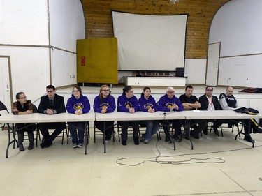 Community members take part in a press conference at the Community Centre in La Loche on February 24, 2015.
