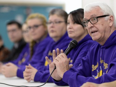 Greg Hatch, a teacher at the La Loche Community School, speaks during a press conference at the Community Centre in La Loche on February 24, 2016.