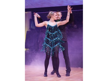 Chantel Huber Co-Anchor CTV News dances with her partner during Swinging with the Stars in Saskatoon, January 30, 2016.
