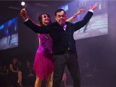 Michelle Wildeman, philanthropist, dances with her during Swinging with the Stars in Saskatoon, January 30, 2016.