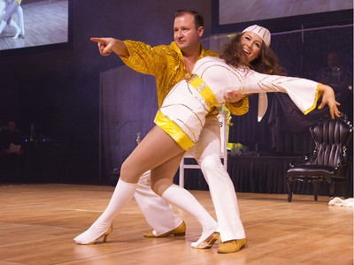 Slade Desrocher, Realtor Realty Executives, dances with his partner during Swinging with the Stars in Saskatoon, January 30, 2016.