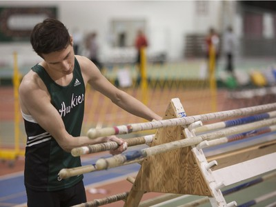 Damon Zwarich competes in the pole vault during the Knights of Columbus Games at the Saskatoon Field House on the University of Saskatchewan campus, January 30, 2016.